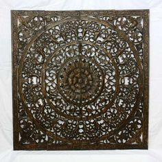 Wall Decor Lotus Flower Teak Carving    48 x 48 Lotus Carving Black Stain dark Wax finish . . . beautiful #Wall # Art from Thailand