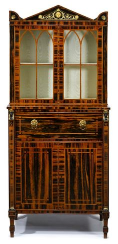 Regency Egyptian Revival gilt bronze mounted calamander secretaire cabinet   circa 1810, attributed to George Oakley