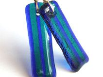 Blue Stripes Dangle Glass Earrings