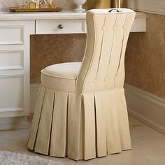 Elena Vanity Stool Frontgate. comes in cream. has a little handle ...