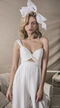 lihi hod 2018 bridal one shoulder sweetheart bikini top sophiscated chic pants wedding dress (16) zv -- Lihi Hod 2018 Wedding Dresses