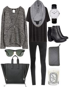 black shirt, black trousers, grey infinity scarf and grey cardigan with black bag and boots