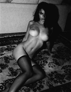 Emily Ratajkowski stockings topless