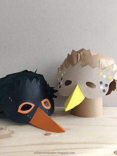DIY - Vogelmasken für Kinder, Drossel und Amsel - Famous Last Words Bird Wings Costume, Crow Costume, Preschool Crafts, Crafts For Kids, Cardboard Costume, Cardboard Mask, Crow Mask, Bird Masks, Earth Day Crafts