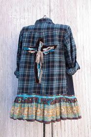 cd340a1bd6314 Farm Girl Fancies Upcycled Flannel Womens Shirt   jacket   tunic ~ Plaid ~  Velveteen and Lace Cross Back ~ by  Sweet Magnolias Farm .