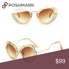 cc8904a78a5 LAST 1 🐚 Tan Trendy Butterfly Heart Sunglasses On-trend festival SUNNIES!  High quality