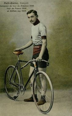 In this undated photo of a postcard provided by the WielerMuseum Roeselare, French cyclist and 1907 and 1908 Tour de France winner Lucien Petit-Briton stands with his bike. Three former winners of the Tour de France; Octave Lapize, Francois Faber and Lucien Petit-Breton all died fighting in World War I. Breton was the first rider to win the tour in two consecutive years