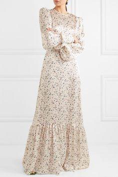The Vampire's Wife - Belted ruffled floral-print silk-satin maxi dress The Dress, Dress Skirt, Modest Fashion, Fashion Dresses, The Vampires Wife, Quoi Porter, Maxi Robes, Modest Dresses, Maxi Dresses