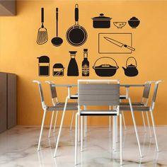 Adesivo Decorativo Parede Cozinha Utensílios Xícara Panela - R$ 19,99