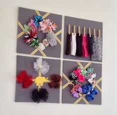 Hair bow holder, diy, gray and yellow, baby girl (Slippers and Stilettos Blog)