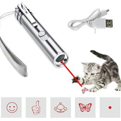 SEALEN Multi-Pattern Funny Cat Chaser Toy Light to Entertain Your Pets Interactive Chase Cat Toys,Command Light Pet Training Tools-USB Rechargeable * Sincerely hope you love our image. (This is an affiliate link) Catnip Toys, Funny Cats, Your Pet, Entertaining, Usb, Pets, Training, Tools, Pattern