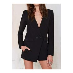 SheIn(sheinside) Black Lapel Double Breasted Blazer Jumpsuit (800 CZK) ❤ liked on Polyvore featuring jumpsuits, black, black long sleeve jumpsuit, black jumpsuit, long sleeve jump suit, formal jumpsuits and jump suit
