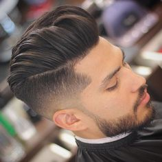 Medium Hairstyles and Haircuts For Men-Modern Pompadour + Undercut Fade + Beard . Tape Up Haircut, Quiff Haircut, Undercut Hairstyles, Undercut Fade, Modern Undercut, Hairstyles 2018, Modern Quiff, Modern Man Haircut, Haircut Style