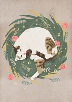 Cat grooming cute illustration @Sarah Chintomby Chintomby adelman