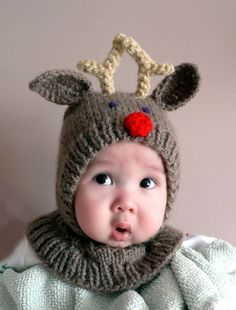 months Rudolph the red nosed reindeer hat Knitting For Kids, Knitting Projects, Baby Knitting, Crochet Projects, Knitting Patterns, Crochet Patterns, Reindeer Hat, Red Nosed Reindeer, Santa And Reindeer