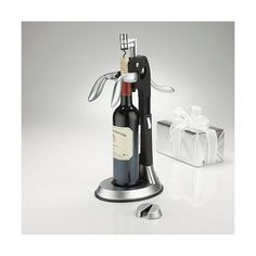 QuickSilver Tower Deluxe Corkscrew Set ($60) ❤ liked on Polyvore featuring home, kitchen & dining, bar tools, wine enthusiast, wine corkscrew and wine cork screw