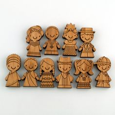 Wooden Bamboo Magnets Children of the World by graphicspaceswood, $36.00