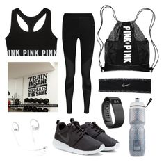 """Gym outfit for teens"" by xshewolfx on Polyvore featuring Victoria's Secret, NIKE, Fitbit, women's clothing, women's fashion, women, female, woman, misses and juniors"