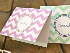 chevron stripe personalized cards