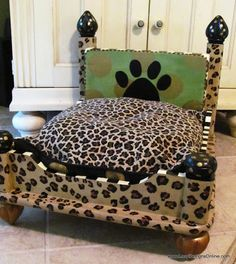 DIY upcycle an end table to a dog bed -- This was done using a simple table without drawers or anything. Very cute, indeed!
