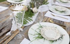 Have you seen our gold rimmed Charlotte glassware collection? This vintage girl is perfect for any airy, summer event!