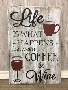 Boy Names Discover gift for mothers day/coffee and wine/life is what happens between coffee and wine/ mom sign/ wine sign/ coffee sign/ mothers day Coffe And Wine Bar, Coffee Bar Home, Coffee Wine, Coffee Gifts, Iced Coffee, Coffee Creamer, Coffee Shop, Coffee Maker, Coffee Drinks