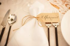 Brown Tag Place Card With Twine {photography by Rebecca Schlieman of http://www.millieholloman.com/}