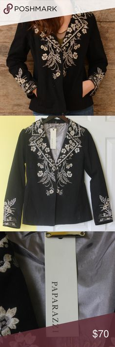 Paparazzi Twill Embroidered Blazer Paparazzi black twill blazer with cream floral embroidering and one snap closure.  Beautiful gray lining with motif. Cute with jeans! Paparazzi Jackets & Coats Blazers