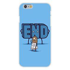 Apple iPhone 6 Custom Case White Plastic Snap On - 'The End is Near' Doomsday Man Cartoon