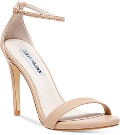"A chic, barely-there silhouette will make your look come alive. The Stecy two-piece sandals by Steve Madden. <ul> <li>Fabric contents and colors include:</li> <li>Leather in black</li> <li>Fabric in gold glitter</li> <li>Round open-toe dress sandals with ankle strap and leather lining</li> <li>3-3/4"" heel</li> <li>Leather or fabric upper; lining: leather; manmade sole</li> <li>Imported&lt"
