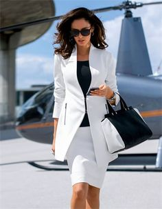 stylish chic ideal for office Long blazer - MADELEINE Business Chic, Business Outfits, Business Attire, Business Women, Suit Fashion, Look Fashion, Teen Fashion, Womens Fashion, Fashion Trends