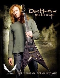 Megadeth Dave Mustaine Signature Dean VMNT guitar ad 8 x 11 advertisement print Dave Mustaine Guitar, Rock N Roll, Dean Guitars, Dave Navarro, Guitar Magazine, Jane's Addiction, Best Guitarist, Music Album Covers, Guitar Strings