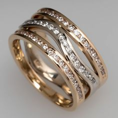 1 CTW Wide Band Diamond Ring Two-Tone 14K Gold -