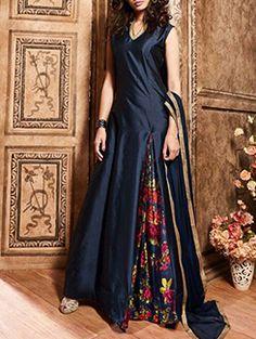 Navy Blue designer wear Indian kalidar suit in pure silk Pakistani Salwar Kameez, Anarkali Suits, Lehenga Choli, Anarkali Churidar, Saree, Abaya Fashion, Indian Fashion, Women's Fashion, Fashion Trends