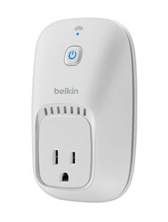 The Belkin WeMo Switch, the iPhone Home Remote, works with the (free) WeMo app so you can turn electronics on or off from anywhere.
