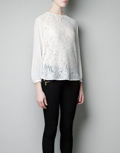 BLUSA BLONDA COMBINADA - Camisas - Mujer - ZARA