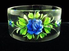 VTG LUCITE Blue Rose FLOWER REVERSE CARVED Bangle BRACELET