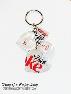 Learn to make this collection of DIY recycled crafts - with Mod Podge! One of the best ideas is this keychain from an old aluminum can. Soda Can Crafts, Cute Crafts, Crafts To Make, Diy Crafts, Soda Can Art, Food Crafts, Yarn Crafts, Sewing Crafts, Diy Recycling