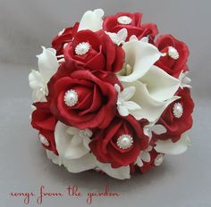 white bouquet with red rhinestones | Red Rose Bridal Bouquet