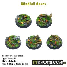 This set contains 5 round 32mm scenic bases. Windfall theme.