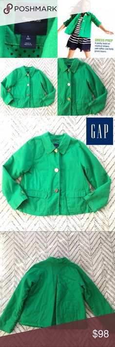 "Kelly Green Gap Kids Jacket Adorable Kelly Green Gap Kids Jacket. Gold-tone buttons, Fold-over Pockets, fully lined. In very good pre-owned condition; minor signs of wear. Single-Breasted. Girls Size Large. Approximate Measurements (flat): 17.5"" armpit to armpit, 20"" long, 22"" sleeves.   🎀Search my closet for your size 🎀BUNDLE and SAVE! 🎀REASONABLE offers WELCOME 🎀NO TRADES NO HOLDS 🎀Thank you for stopping by!❤️ GAP Jackets & Coats Pea Coats"