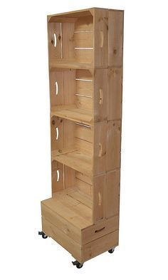 Add bins for organizing. Great for art supplies, books, candles, craft supplies, laundry baskets. Add tension rods to hold scrapbook Craft Fair Displays, Store Displays, Baby Store Display, Apple Crates, Apple Crate Shelves, Wood Crate Shelves, Crate Bookshelf, Crate Furniture, Furniture Logo