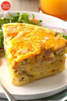 This frittata has the classic ingredients of a Denver omelet—peppers, onion and ham—along with potatoes to make it extra hearty. It's the perfect brunch dish to serve company after church or another early outing. Brunch Dishes, Breakfast Dishes, Breakfast Casserole, Breakfast Recipes, Breakfast Ideas, Potluck Recipes, Crockpot Recipes, Cooking Recipes, Picnic Recipes