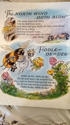 The North wind doth blow & Fiddle-de-dee Nursery Rhymes Poems, Rhymes Songs, Old Children's Books, Vintage Children's Books, Nursery Rymes, Children's Book Illustration, Illustrations, Kids Poems, Rhymes For Kids