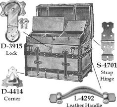 Antique reproduction furniture hardwareHardware of the past: parts for the repair of furniture, Hoosier cabinets, trunk, etc.How To Remove Rust From Antique Metal Trunks Old Trunks, Vintage Trunks, Trunks And Chests, Antique Trunks, Vintage Suitcases, Antique Metal, Old Trunk Redo, Trunk Makeover, Objets Antiques