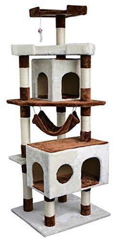 Merax Tower House with Condo Scratching Post for Cats Merax
