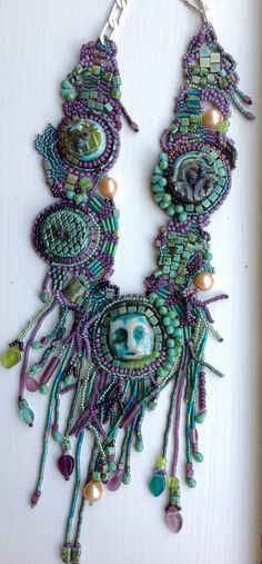 Bead embroidery/freeform beadwoven necklace by JudesArt