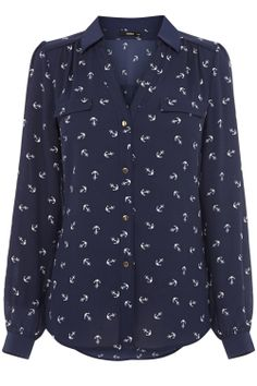 Blue Anchor Print Shirt   Oasis: I love the V-neck design of this shirt. It's flattering on a more busty figure.