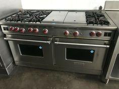 "Wolf 60"" Pro-Style Gas range 6 burnersw/ charbroiler & griddle · $5,200.00 Electric Oven, Gas Stove, Wolf, Auction, Kitchen Appliances, Range, Martha Stewart, Style, Diy Kitchen Appliances"