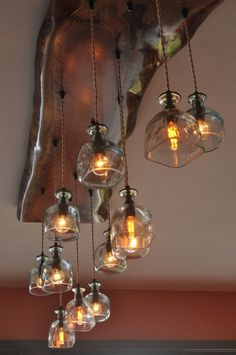 Live Edge Chandelier by MoonshineLamp on Etsy